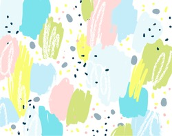 Brush, marker, pencil stroke pattern. Abstract background. Vector artwork. Memphis vintage, retro style. Children, kids sketch drawing. Blue, green, yellow, pink, gray colors.