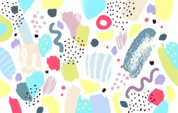 Brush, marker, pencil stroke pattern. Abstract background. Vector artwork. Memphis vintage, retro style. Children, kids sketch drawing. Pink, purple, beige, yellow, red, green, black, white colors.
