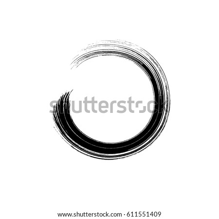 Brush  mascara  circle  stroke isolated on white background. Vector hand drawn curve scribble swatch for fashion cosmetic makeup design