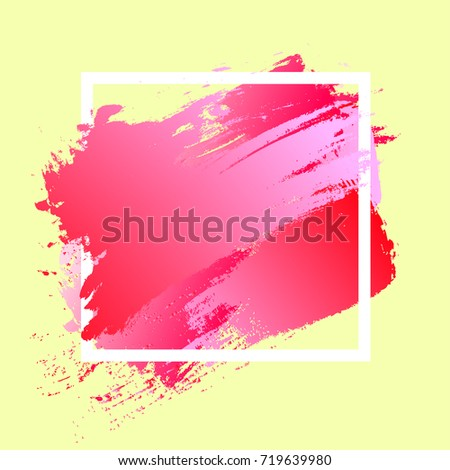 Brush paint acrylic texture in pink and red gradient over white square frame. Creative watercolor design for headline, sale banner, template. Art abstract background on pastel yellow wallpaper.