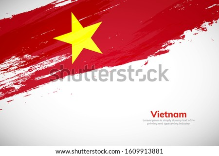 Brush painted grunge flag of Vietnam country. Hand drawn flag style of Vietnam. Creative brush stroke abstract concept brush flag background.