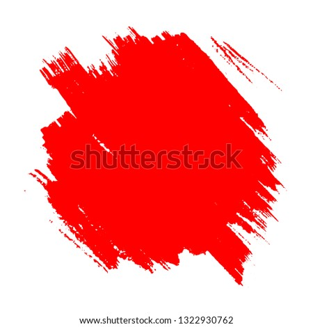 Brush painted grunge red spot isolated on white background, vector illustration #1322930762