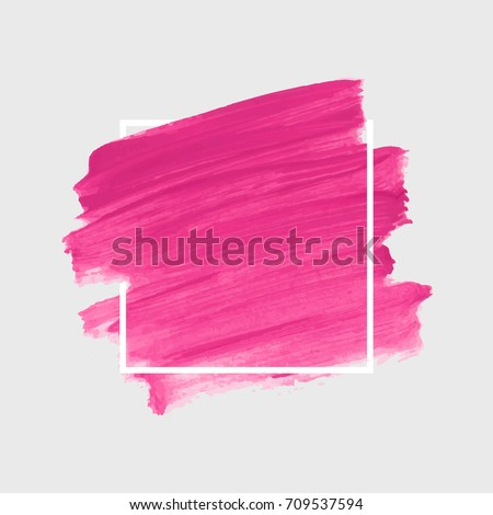 Brush painted textured watercolor art abstract background vector illustration. Acrylic stroke poster over square frame. Perfect design for headline, logo and sale banner.  - Shutterstock ID 709537594