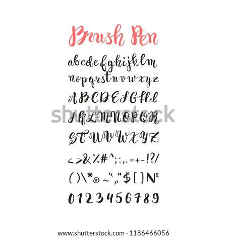 brush pen handwritten alphabet