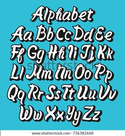 Brush Pen Vector Comic Alphabet Font Lettering In Hand Script Handwritten Style Retro Calligraphy Cursive TypefaceTypography