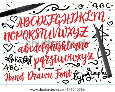 Brush script font with doodle illustrations on paper background. Grunge style vector illustrations set.