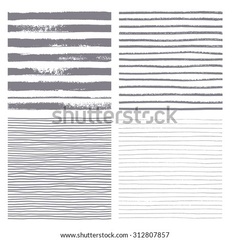 Brush stripes vector seamless pattern. Set of thin and thick lines. Vector texture. Brush drawn - rough, artistic edges. Isolated silhouette strip. Four variations of the striped backgrounds.