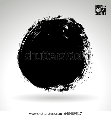 Brush stroke and texture. Grunge vector abstract hand - painted element. Underline and border design. #645489517