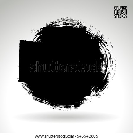 Brush stroke and texture. Grunge vector abstract hand - painted element. Underline and border design. #645542806