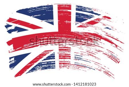 brush stroke flag of uk grunge