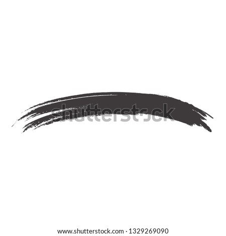 Brush stroke isolated on white background. Trendy brush stroke for black ink paint, grunge backdrop, dirt banner, watercolor design and dirty texture. Creative art concept, vector illustration #1329269090