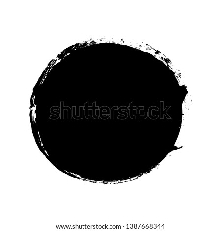 Brush stroke isolated white background. Circle black paint brush. Grunge texture round stroke. Art ink dirty design. Border artistic shape, paintbrush element. Brushstroke graphic Vector illustration #1387668344