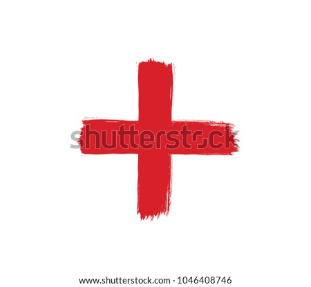 Brush stroke red cross vector. Vector red cross. Cross icon.