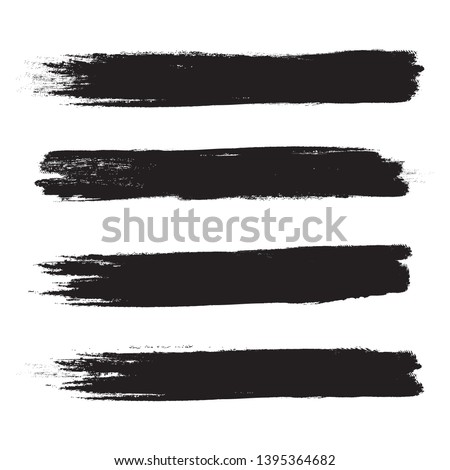 Brush stroke set isolated on white background.Collection of brush stroke for black ink paint, grunge backdrop, dirt banner,watercolor design and dirty texture.Creative art concept, vector illustration #1395364682