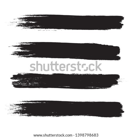 Brush stroke set isolated on white background.Collection of brush stroke for black ink paint, grunge backdrop, dirt banner,watercolor design and dirty texture.Creative art concept, vector illustration #1398798683