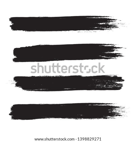 Brush stroke set isolated on white background.Collection of brush stroke for black ink paint, grunge backdrop, dirt banner,watercolor design and dirty texture.Creative art concept, vector illustration #1398829271