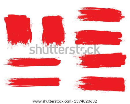 Brush stroke set isolated on white background. Collection of brush stroke for red ink paint, grunge backdrop, dirt banner,watercolor design and dirty texture.Creative art concept, vector illustration Foto stock ©