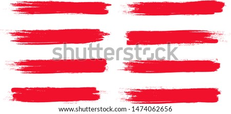 Brush stroke set isolated on white background. Collection of brush stroke for red ink paint, grunge backdrop, dirt banner, watercolor design and dirty texture.Creative art concept, vector illustration