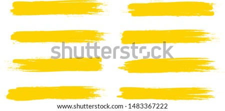 Brush stroke set isolated on white background.Collection of brush stroke for yellow ink paint, grunge backdrop,dirt banner,watercolor design and dirty texture.Creative art concept, vector illustration