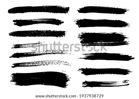 Brush strokes bundle. Vector paintbrush set. Painted lines and long shapes. Grunge design elements. Dirty distress texture