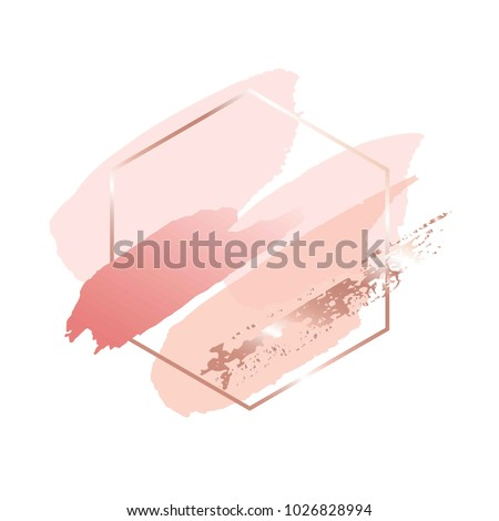 Brush strokes in gentle pink tones and rose gold hexagonal frame on a white background.