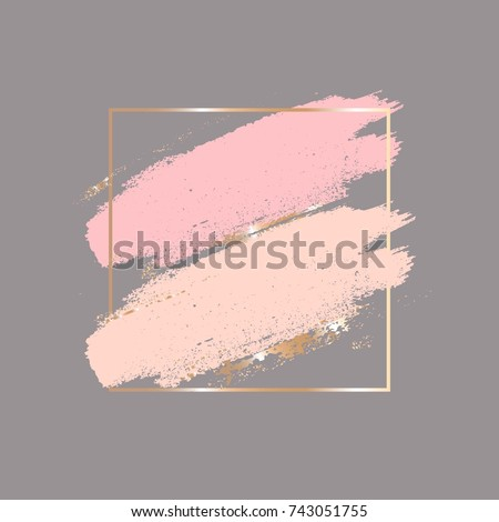Brush strokes in gentle skin tones and gold square frame. Abstract vector background.