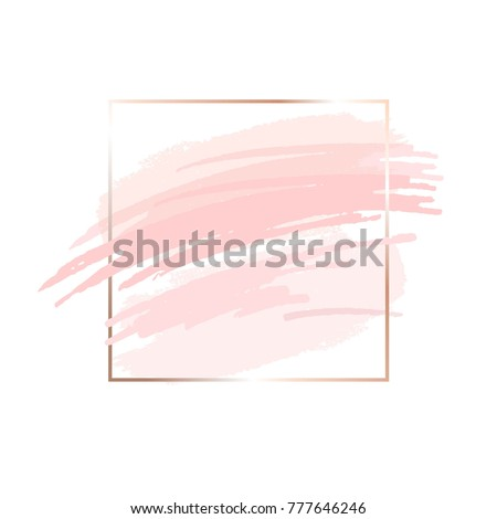 Brush strokes in powder and rose tones and gold square frame on a white background. Abstract vector background.