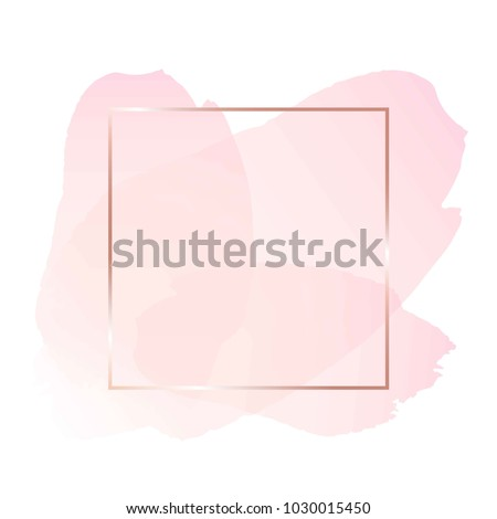 stock-vector-brush-strokes-in-rose-tones-and-rose-gold-line-frame-on-a-white-background-abstract-vector