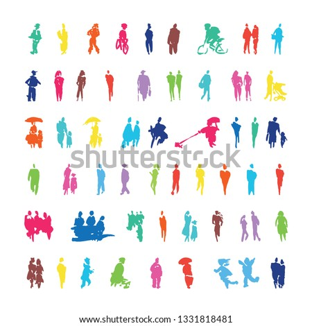 Brush strokes in the form of color silhouettes of people