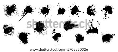 Brush strokes ink and blots, black paint, set. Vector illustration