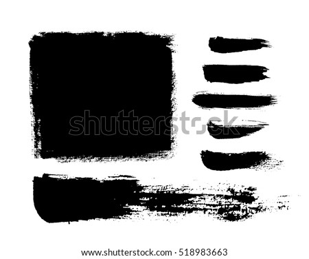 Brush strokes. Ink painting. Set collection. Vector. Black and white