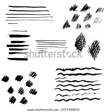 brush strokes ink set, spray,vector