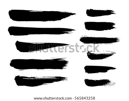 Brush strokes isolated. Ink painting. Set collection. Vector artwork. Black and white #565843258