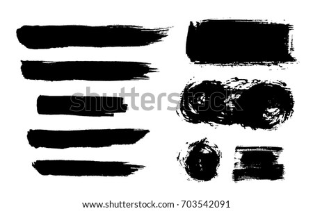 Brush strokes isolated. Ink painting. Set collection. Vector artwork. Black and white