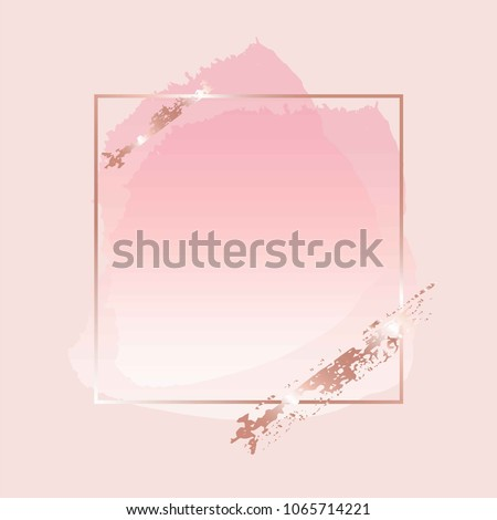 Brush strokes of rose shades in gold line square frame on a powder shade background.
