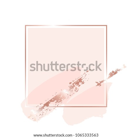 Brush strokes of skin shades and gold contour square frame on a white background.