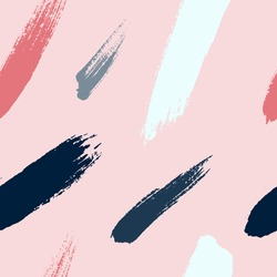 Brush strokes seamless pattern in trendy colors. Artistic, modern, creative, fashion design. For print, digital paper, textile, fabric, hand drawn dry ink grunge textured beautiful brushstrokes.