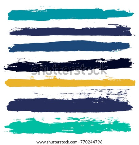 brush strokes set backgrounds. Paint line grunge collection. Set of black grungy hand painted brush strokes isolated on white. Abstract ink texture, design elements borders or frames.