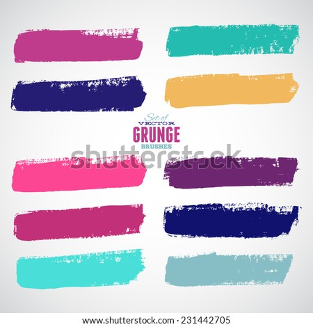 Brush Strokes - Set - Isolated On White Background - Vector Illustration, Graphic Design Editable For Your Design