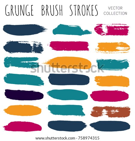 brush strokes set. Paint line grunge collection. Set of grungy hand painted brush strokes isolated on white.