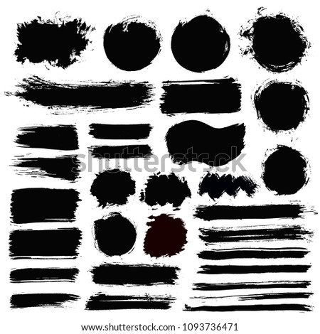 Brush strokes text boxes. Vector paintbrush set. Grunge design elements. Dirty texture banners. Ink splatters. Painted objects. #1093736471
