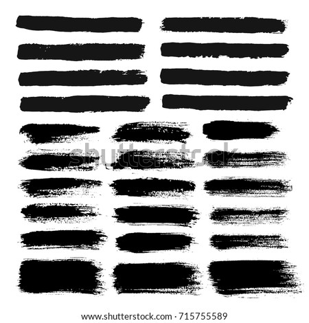 Brush strokes text boxes. Vector paintbrush set. Grunge design elements. Dirty texture banners. Ink splatters. Painted objects.