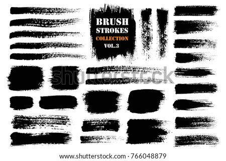 Brush strokes text boxes. Vector paintbrush set. Grunge design elements. Dirty texture banners. Ink splatters. Painted objects. #766048879