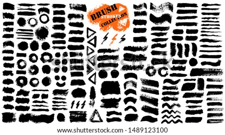 Brush strokes. Vector paintbrush set. Grunge design elements. Rectangle and triangle text boxes. Round speech bubbles Thin dirty distress texture banners. Ink splatters. Grungy painted badges.