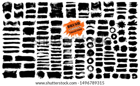Brush strokes. Vector paintbrush set. Grunge design elements. Rectangle text boxes. Round speech bubbles. Thin dirty distress texture banners. Ink splatters. Grungy painted badges.