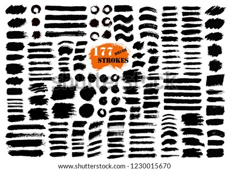Brush strokes. Vector paintbrush set. 177 grunge design elements. Round and long text boxes. Circle dirty texture banners. Ink splatters. Diagonal painted objects.