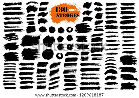 Brush strokes. Vector paintbrush set. Round grunge design elements. Long text boxes. Circle dirty texture banners. Ink splatters. Diagonal painted objects. #1209618187
