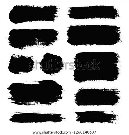 Brush strokes. Vector paintbrush set. Round grunge design elements. Long text boxes. Dirty distress texture banners. Ink splatters. Grungy painted objects. #1268148637
