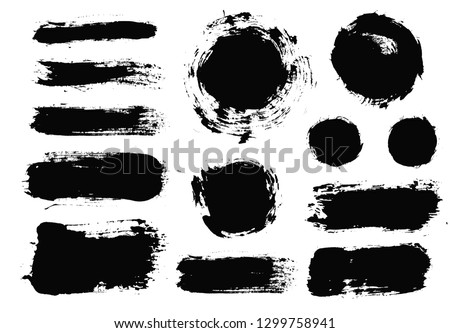 Brush strokes. Vector paintbrush set. Round grunge design elements. Long text boxes. Dirty texture banners. Ink splatters. Painted objects. #1299758941
