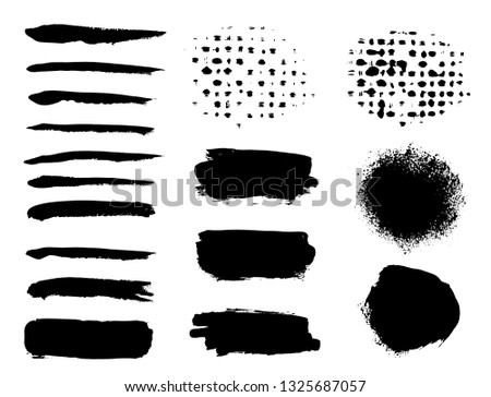 Brush strokes. Vector paintbrush set. Round grunge design elements. Long text boxes. Dirty texture banners. Ink splatters. Painted objects. #1325687057